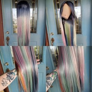 New Custom Dyed Long Rainbow Goth Wig